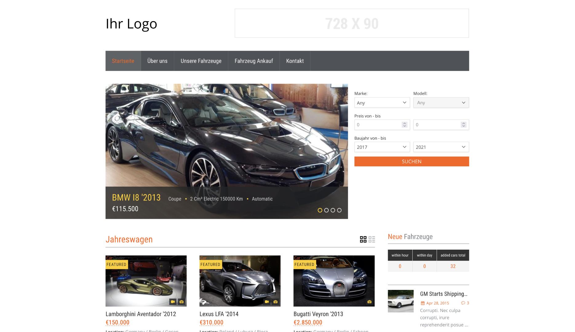 Webseite für Autohändler